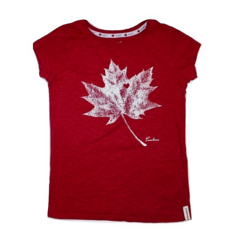 Girls Red Canadiana T-Shirt, Size 6 - May Bug Treasures