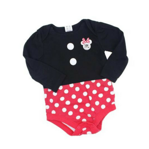 Minnie Mouse Long Sleeve Bodysuit, Size 6-12 Months - May Bug Treasures