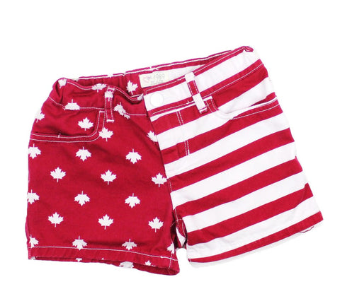 Girls Red and White Canada Shorts, Size 6X/7 - May Bug Treasures