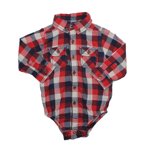 Carter's Button Down Shirt One-Piece Bodysuit, Size 18 Months - May Bug Treasures