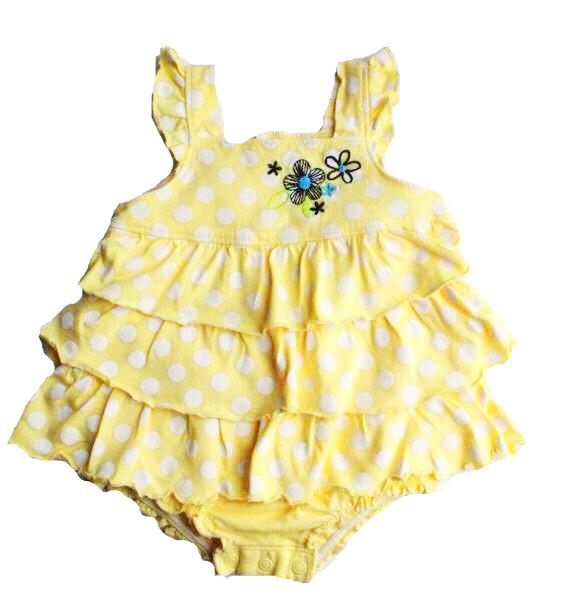 Carters Ruffled Yellow Romper  - Size 6 Months - May Bug Treasures
