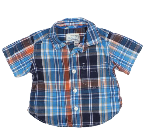 Infant Boys Short Sleeve Blue Plaid Shirt in Size 6-9 Months - May Bug Treasures