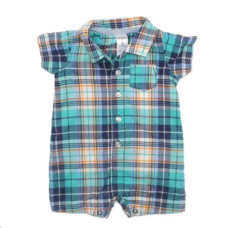 Infant Boys Plaid Short Sleeve Romper, Size 3 Months - May Bug Treasures
