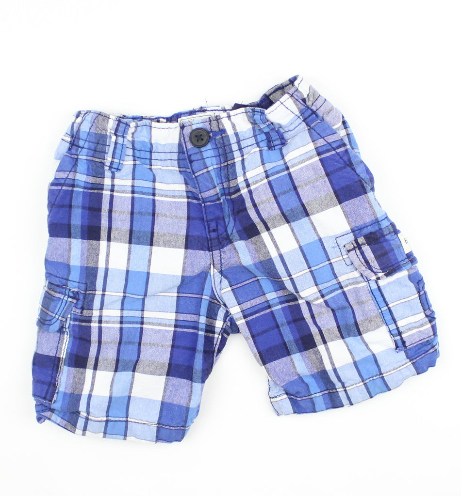 Boys Blue Plaid Cargo Shorts in Size 2T - May Bug Treasures