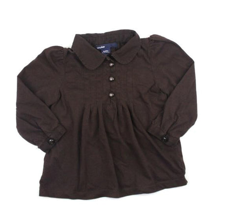 Baby Gap Toddler Girls Brown Long Sleeve Blouse, Size 18-24 Months - May Bug Treasures