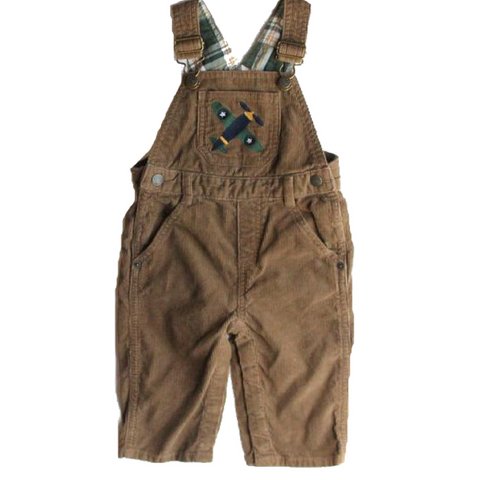 Infant Brown Corduroy Overalls with Airplane, Size 6-12 Months - May Bug Treasures