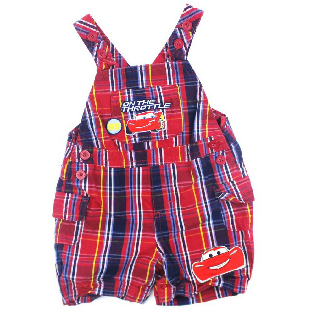 Disney Cars Red Plaid Infant Shortalls, Size 6 Months - May Bug Treasures