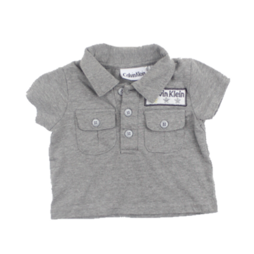 Calvin Klein Infant Grey Collard T-Shirt, Size 0-3 Months - May Bug Treasures