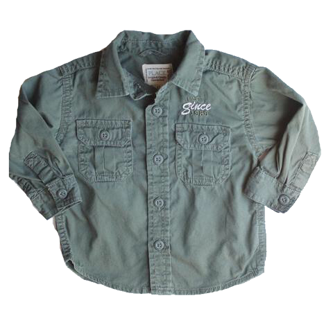 Children's Place Army Button Down Shirt, Size 12 Months - May Bug Treasures
