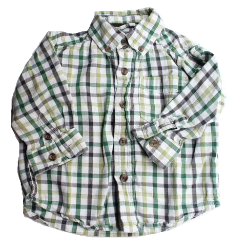 Children's Place Toddler Green Plaid Flannel Shirt - 12months - May Bug Treasures