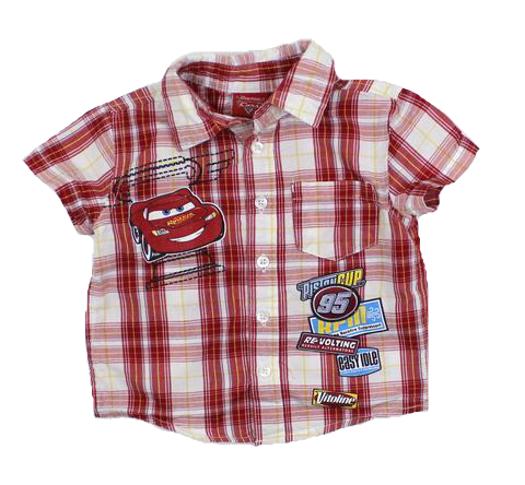 Disney Infant Short Sleeve Plaid 'Cars' Shirt in Size 6 Months - May Bug Treasures