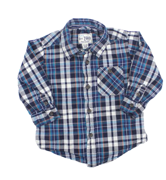 Toddler Boys Long Sleeve Blue Plaid Button Down Shirt in Size 12-18 Months