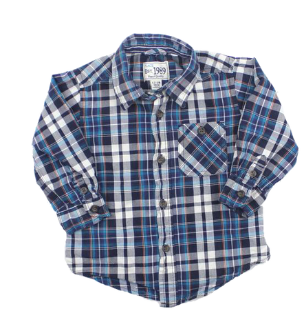 Toddler Boys Long Sleeve Blue Plaid Button Down Shirt in Size 12-18 Months - May Bug Treasures