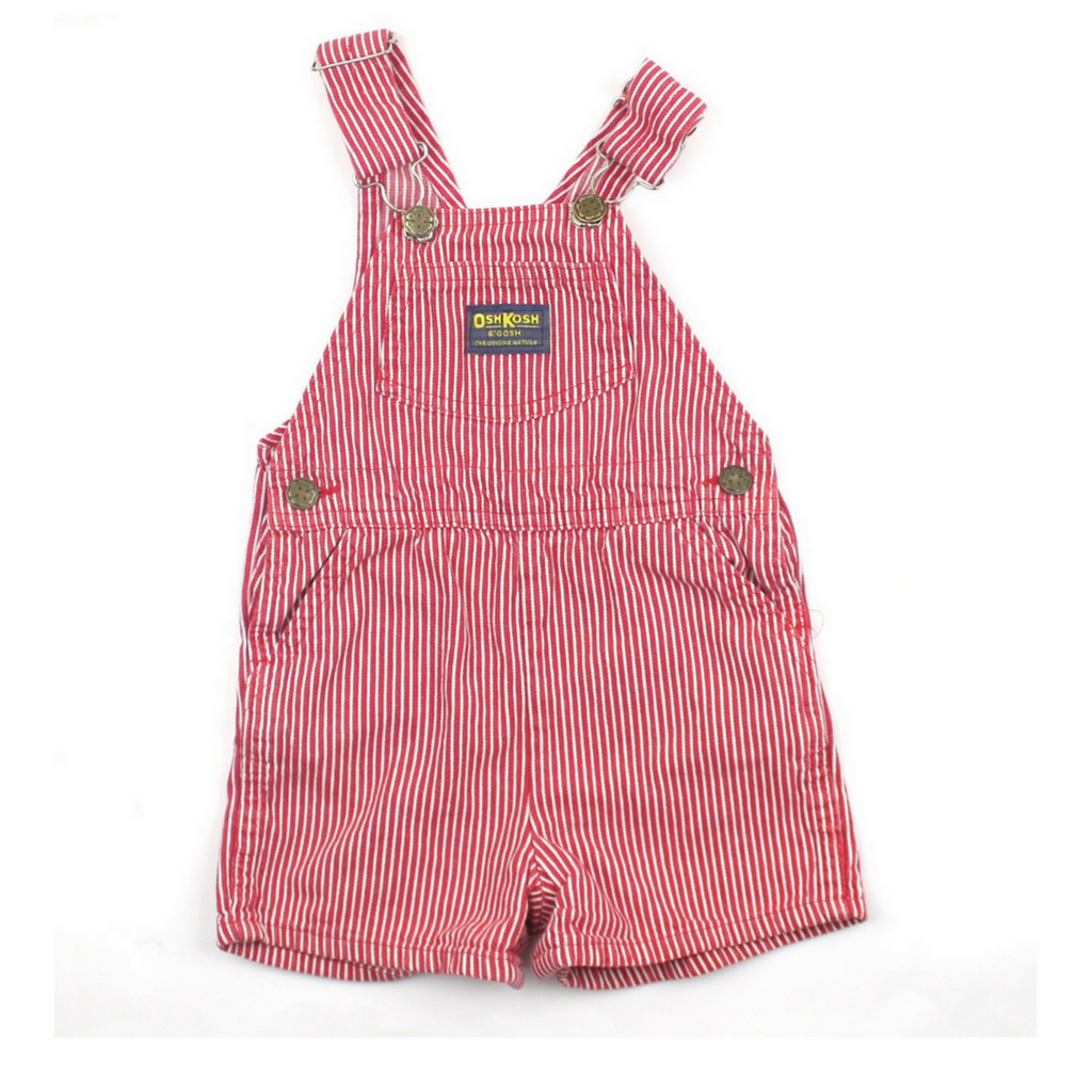Osh Kosh Kids Red Pinstripe Shortalls, Size 3T - May Bug Treasures