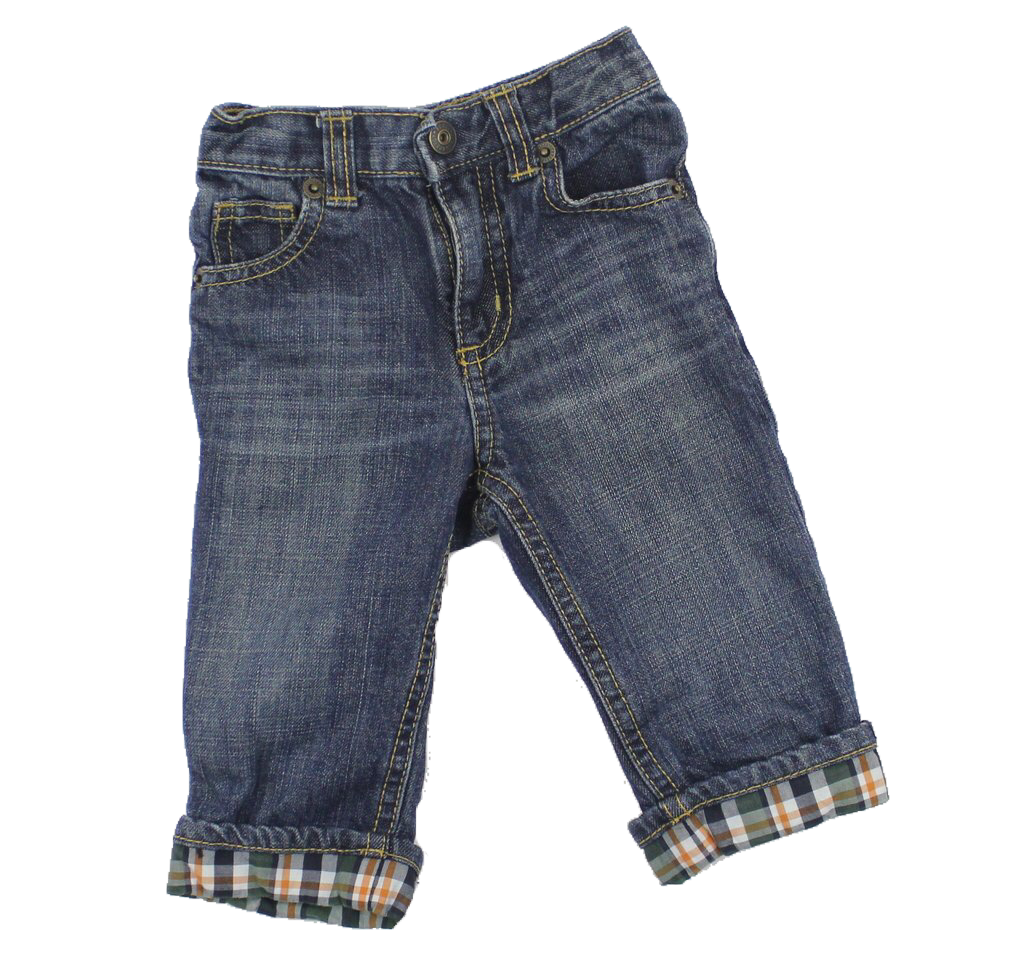 Gymboree Infant Jeans with Plaid Cuff, Size 6-12 Months - May Bug Treasures
