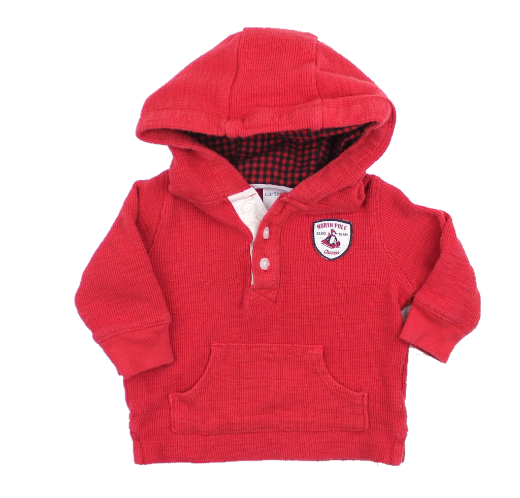 Infant Red Long Sleeve Hoodie Top, Size 3 Months - May Bug Treasures