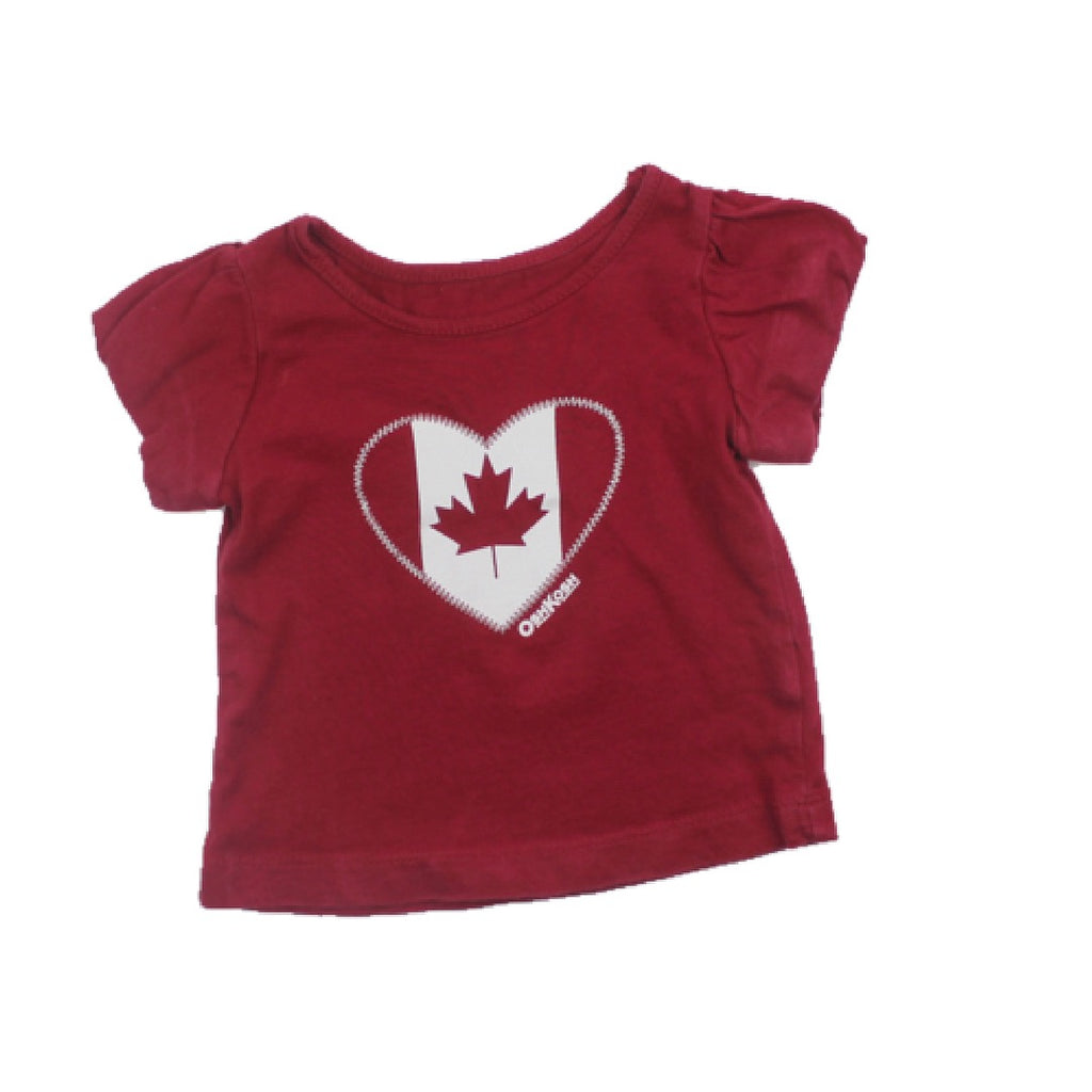 Osh Kosh Infant Girls Red Maple Leaf Heart T-shirt, Size 3 Months