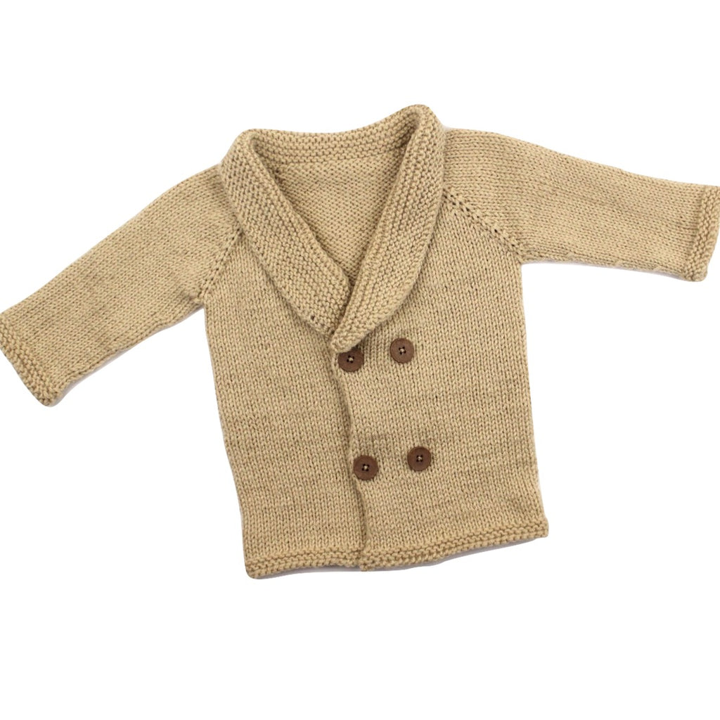 Brand New Hand Knit Cardigan Sweater Shawl Collar, Size 6-12 Months - May Bug Treasures