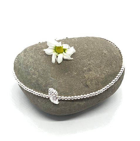 Silver Anklet with Sea Shell - Love Beach Beads