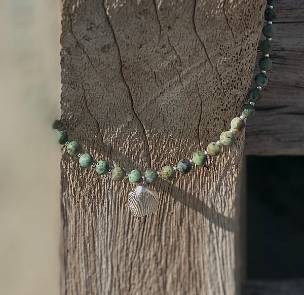 Turquoise Necklace with Silver shell - Love Beach Beads