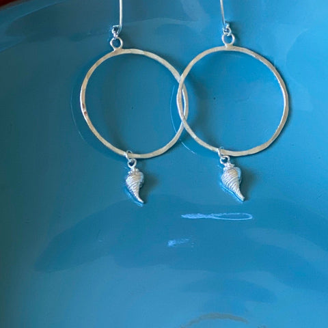 Silver Hoop Earrings Seashells - Love Beach Beads