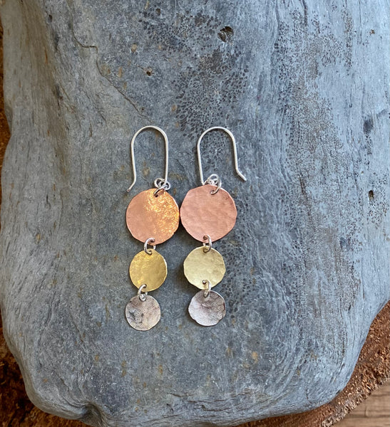 Brass Copper and Silver drops - Love Beach Beads
