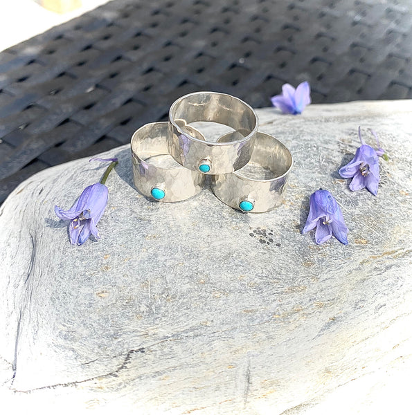 Sterling Silver Hammered Band Ring With Turquoise - Love Beach Beads
