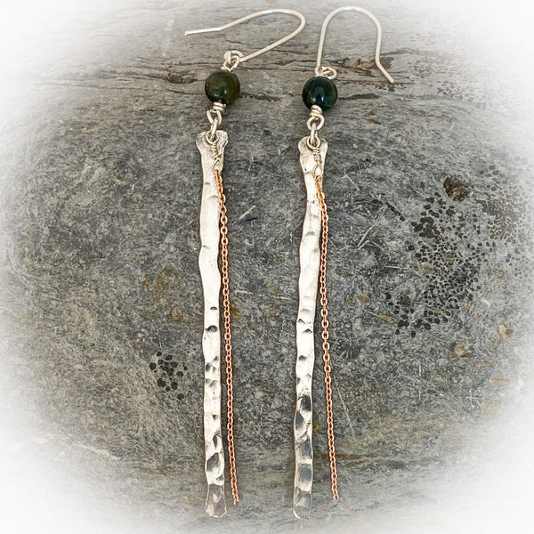 Sterling Silver Bar Earrings With Rose Gold - Love Beach Beads