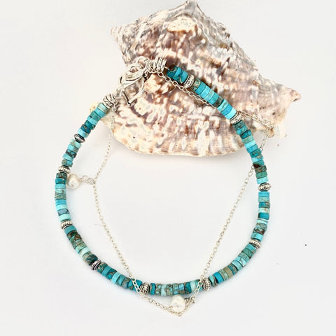 Jasper Turquoise Anklet - Love Beach Beads