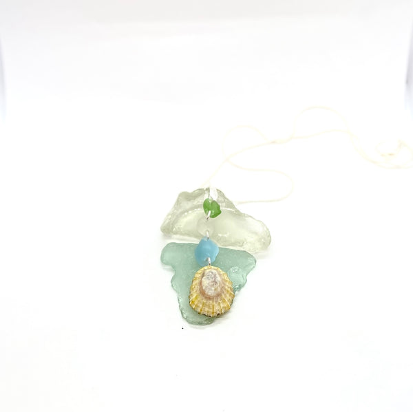 Sea Shell with Sea Glass Pendant - Love Beach Beads
