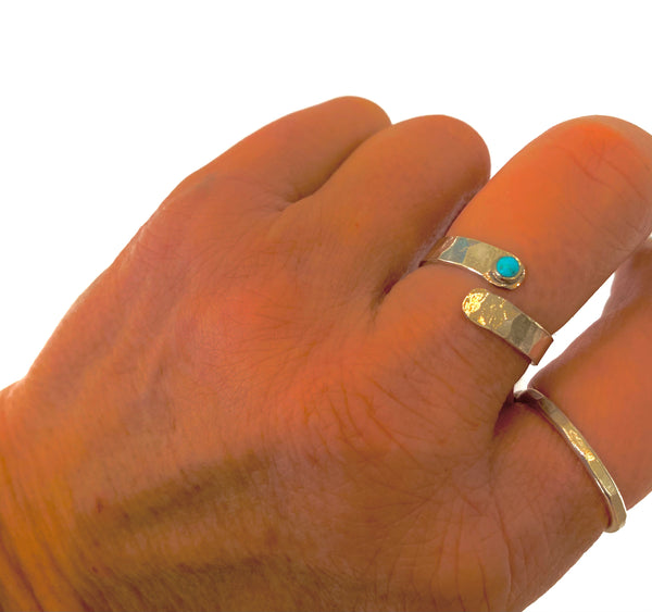Turquoise Silver Wrap Ring - Love Beach Beads