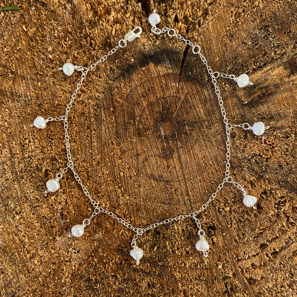 Freshwater Pearl Anklet Sterling Silver Chain - Love Beach Beads