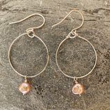 Silver Hoop Earrings With Freshwater Pearls Pink or grey - Love Beach Beads