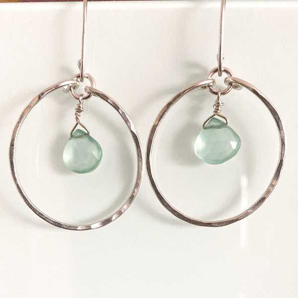 Chalcedony Silver Hoop Earrings - Love Beach Beads