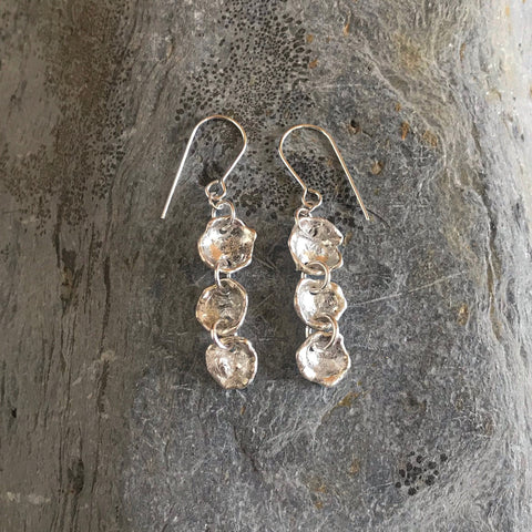 Organic silver nugget sterling silver earrings, bohemian silver shell shape nuggets, silver fashion, silver earrings.