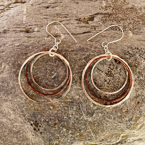 Silver and Copper Hoop Earrings - Love Beach Beads
