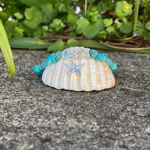 Turquoise Silver Starfish Charm Anklet - Love Beach Beads