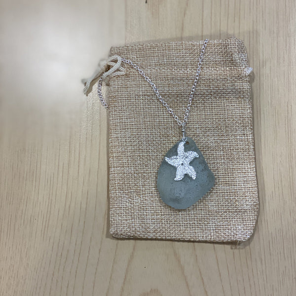 Seaglass Necklace Starfish - Love Beach Beads