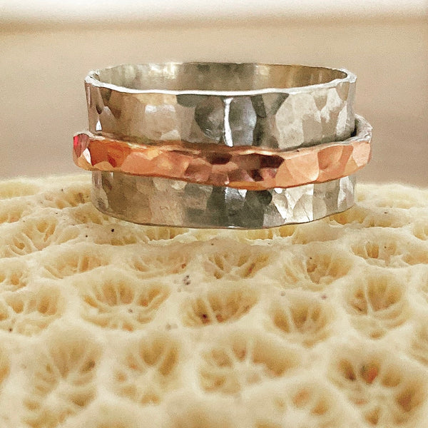 Sterling Silver Hammered Spinne Ring Copper - Love Beach Beads