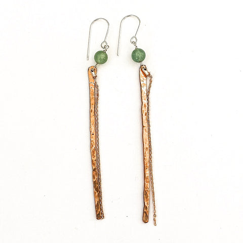Long copper earrings with rose gold chain and jade stone. Elegant long earrings