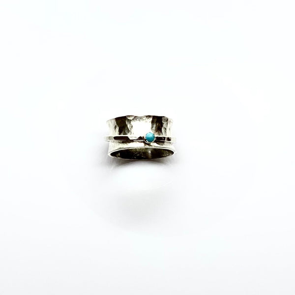 Turquoise Silver Spinner Ring - Love Beach Beads