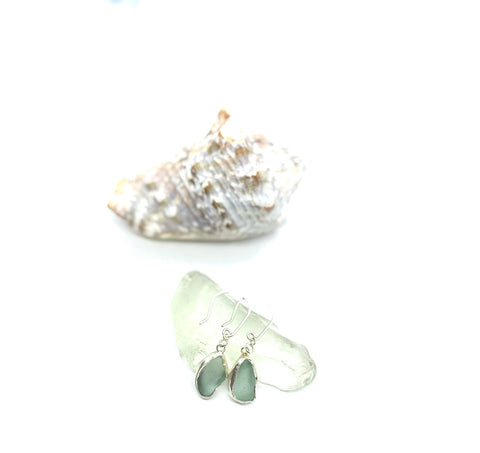 Sea Glass Silver Earrings - Love Beach Beads