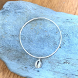 Silver Bangle with Cowrie Shell Charm - Love Beach Beads