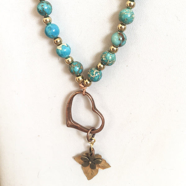 Turquoise Charm Necklace - Love Beach Beads