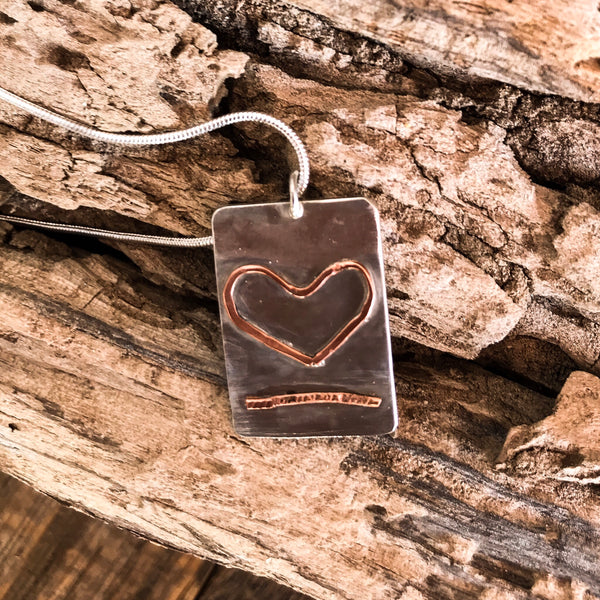 Sterling silver heart pendant necklace, heart jewellery, hand made silver jewellery with copper