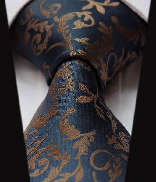 2473bbf44 Navy Blue and Gold Paisley Tie