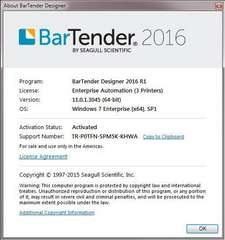 BarTender Software About Screen