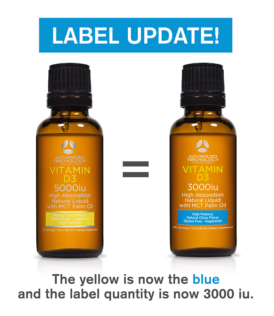 Effective April 1, 2020 you will see a new label on the Advanced Trichology Vitamin D3 product sublingual product.