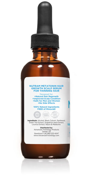 Two Bottles of NutraM Topical Melatonin Hair Growth Serum for Thinning Hair - Clinically Researched - 2oz