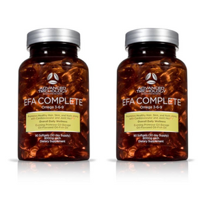 Two Bottles of EFA COMPLETE Nutraceutical (Omega 3-6-9 for Optimal Hair Growth)